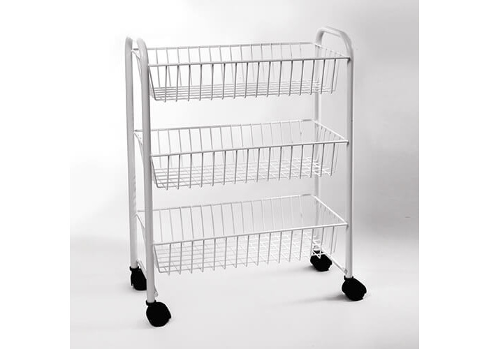 Delfinware Wireware White 3 Tier Mobile Trolley - 1
