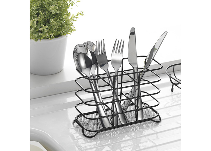 Deluxe Steel 3 Compartment Wire Cutlery Stand/Holder & Drainer High Gloss[Black] - 2