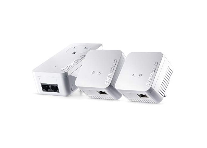 devolo dLAN 550 WiFi Network Kit Powerline triple pack, 300 Mbps over WiFi, 1x Powerline adaptors with 2 LAN ports, 2x WiFi repeater with 1 LAN port, PLC network adapter, WLAN Booster, whole home wifi, white - 1