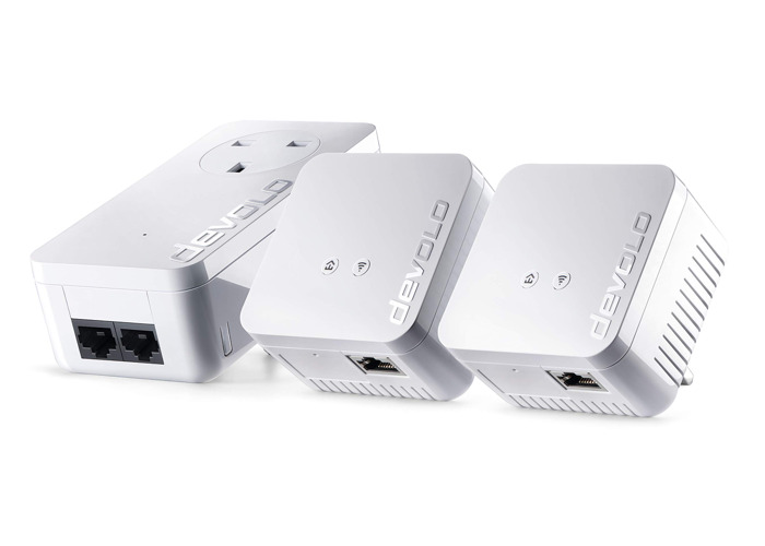 devolo dLAN 550 WiFi Network Kit Powerline triple pack, 300 Mbps over WiFi, 1x Powerline adaptors with 2 LAN ports, 2x WiFi repeater with 1 LAN port, PLC network adapter, WLAN Booster, whole home wifi, white - 2