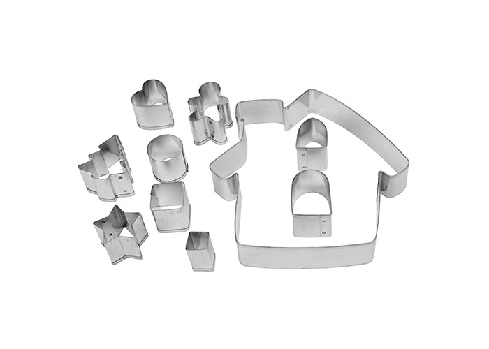 Dexam Tinplate Make and Bake Gingerbread House 10-Piece Cookie Cutter Kit - 1