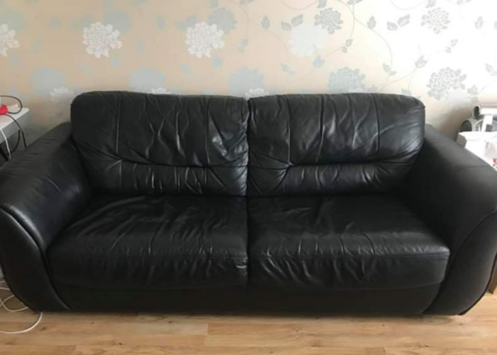 DFS sofabed genuine leather black - 1