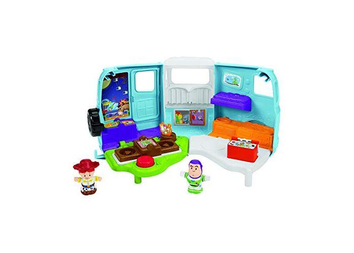 Disney Toy Story GFL23  Toddlers Can Join Pixar's Buzz Lightyear and Jessie As They Hit The Road in This Little People RV That Transforms Into a Campsite, Multicolour - 1