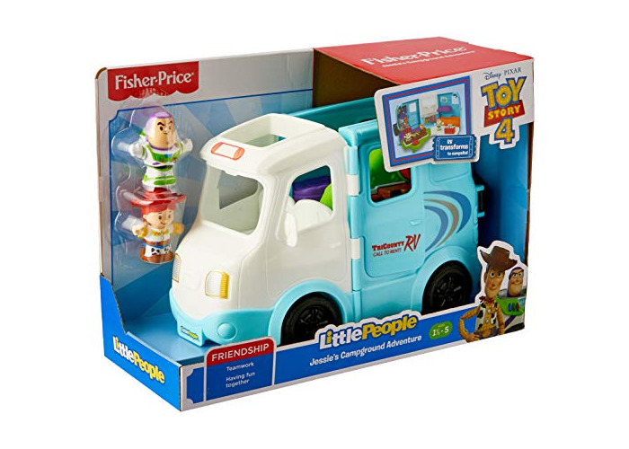 Disney Toy Story GFL23  Toddlers Can Join Pixar's Buzz Lightyear and Jessie As They Hit The Road in This Little People RV That Transforms Into a Campsite, Multicolour - 2