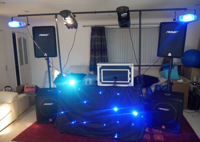 DJ / PA / Sound/ Speaker System with Microphone, Lighting and Smoke Machine - 1