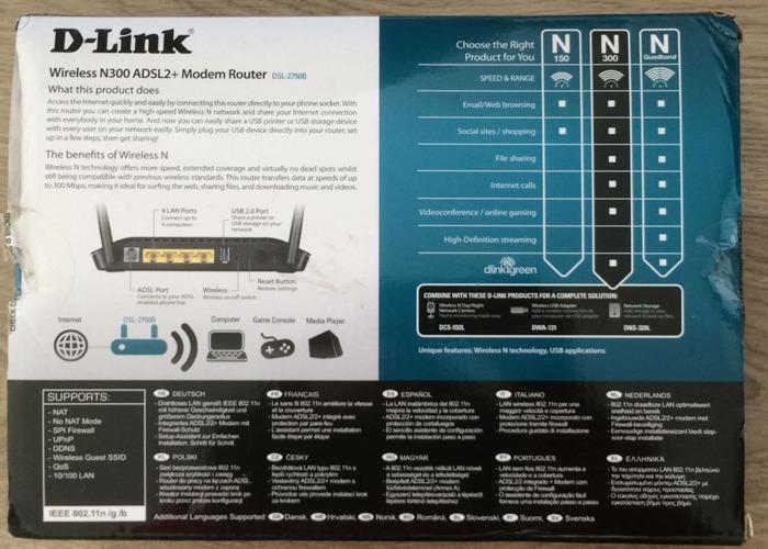 D-Link Wireless N300 ADSL2 + Modem Router - 2