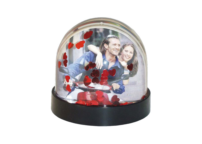 Dorr Snow Globe for Photo Small Black with Hearts - 1