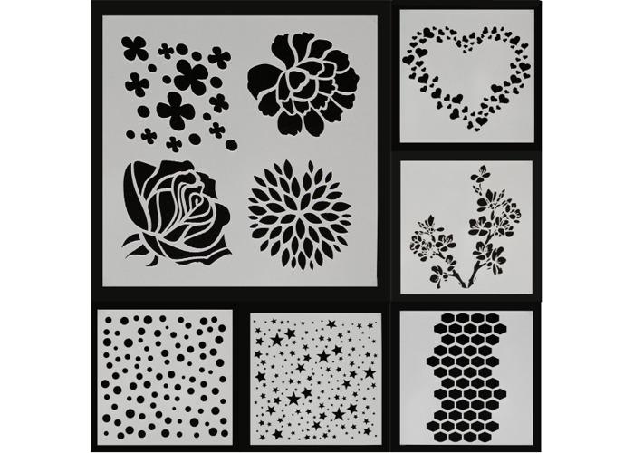 Dot Star Heart Rose Sakura Flower Painting Stencils DIY Scrapbook Photo Album Hand Craft - 1