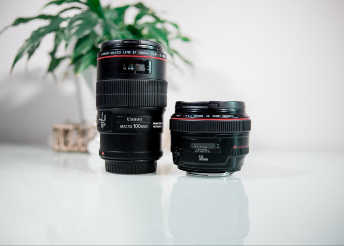 double pack Canon 100 mm DSLR lens and Canon 50 mm lens - 2