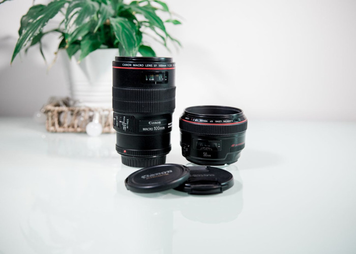 double pack Canon 100 mm DSLR lens and Canon 50 mm lens - 1