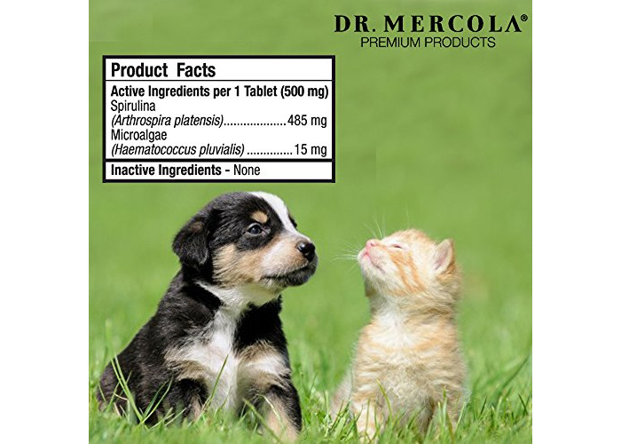 Dr Mercola Healthy Pets Spirugreen SuperFood for Pets (500mg, 180 Tablets) - 2