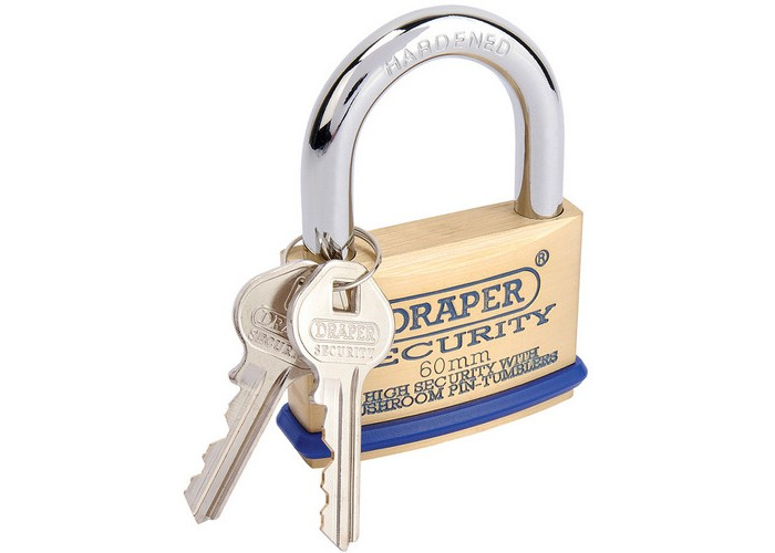 Draper 64163 60mm Solid Brass Padlock and 2 Keys with Mushroom Pin Tumblers Hardened Steel Shackle and Bumper - 1
