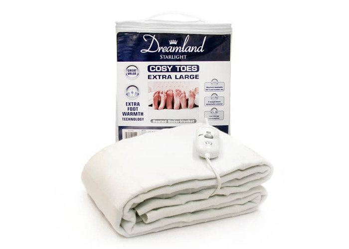 Dreamland 16156 Cosy Toes Extra Large Double Under Blanket in White - 1