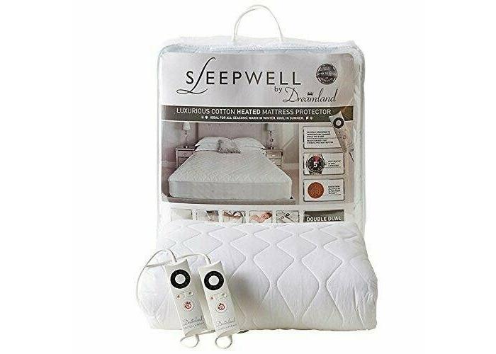 Dreamland 16313 Sleepwell Intelliheat Cotton Heated Mattress Protector, Double - White - 1
