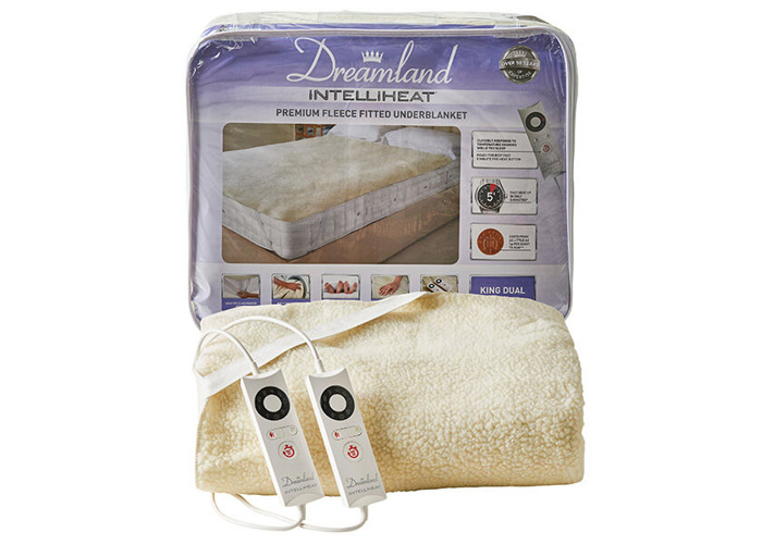 Dreamland Intelliheat Fast Heat Premium Soft Fleece Electric Underblanket, Natural, King Size 160 x 150 cm, 2 Controls, Easy Fit Elasticated Straps, Machine Washable, Extra Foot Warmth - 1