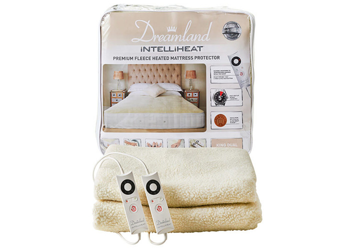 Dreamland Intelliheat Fast Heat Premium Soft Fleece Mattress Protector, King Size, 200 x 150 cm - 1