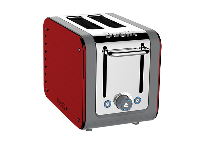 Dualit Architect 2 Slot Grey Body With Apple Candy Red Panel Toaster - 1