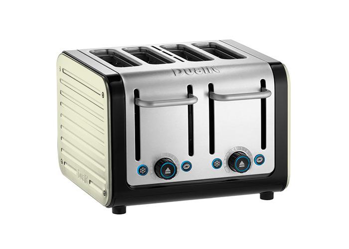 Dualit Architect 4 Slot Black Body With Canvas White Panel Toaster - 1