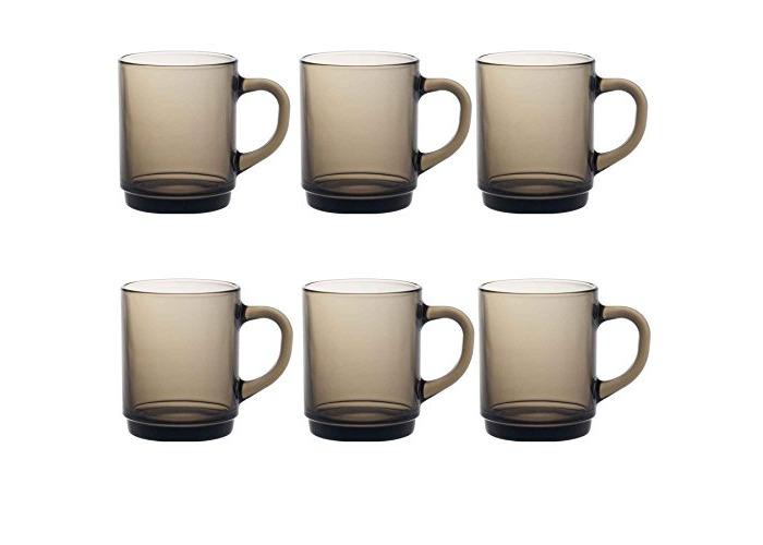 Duralex Versailles Glass Mugs Cups 260ml, Smoke, Set of 6 4020CR06 - 1