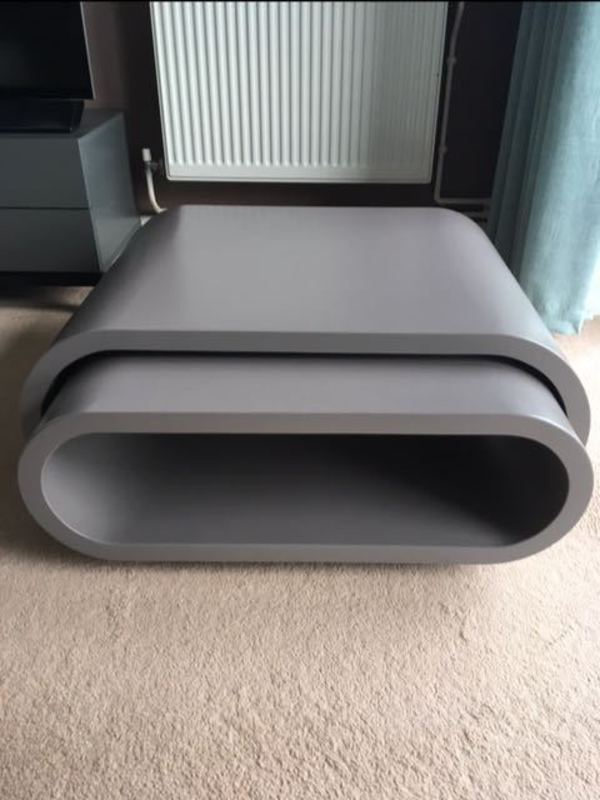 Dwell Oval Matt Coffee Tables Set Stone Colour Finish Excellent Condition