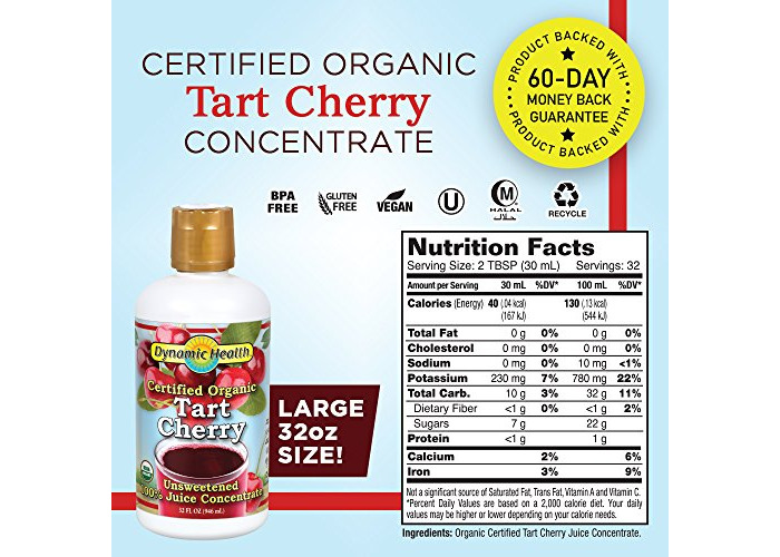 Dynamic Health Organic Tart Cherry Juice Concentrate | USDA Certified & 100% Pure | 32 Servings - 2
