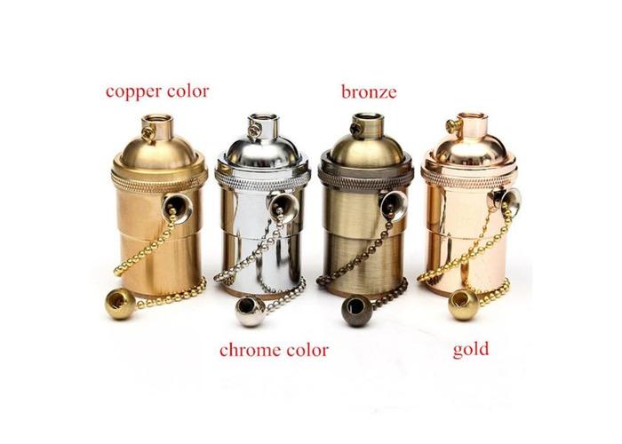 E27 Copper Socket Vintage Retro Edison Pendant Lamp Holder 110-250V - 2