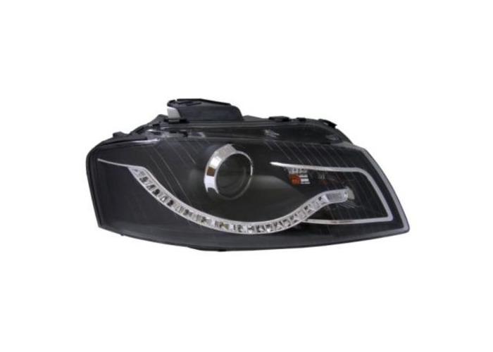 Eagle Eyes Rhd Projector Headlights LED DRL Black For Audi A3 2003-2008 8P - 1