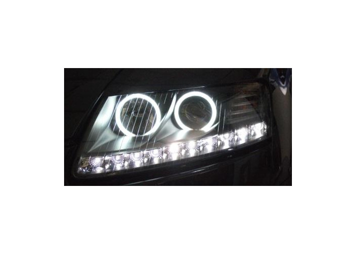 Eagle Eyes Starline LHD Projector Headlight DRL Black For Audi A6 04-08 - 2