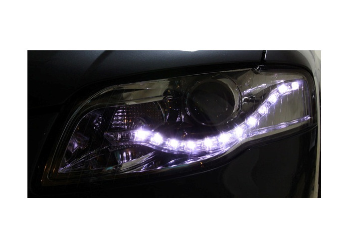 Eagle Eyes Starline LHD Projector Headlights LED DRL Chrome For Audi A4 B7 - 1