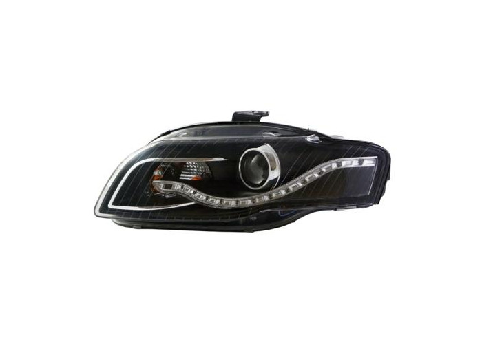Eagle Eyes Starline LHD Projector Headlights Pair DRL Black For Audi A4 B7 - 1