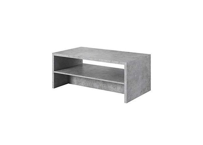 """e-Com - Coffee Table""""TAMAR"""" - 60 x 110 cm - Concrete/White - 1"""