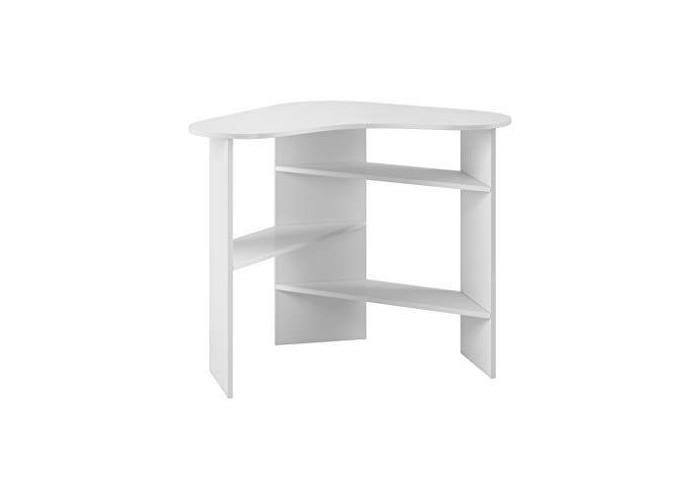 E-com - Corner Desk Table Desk with Storage Shelves CORAL - 110 cm - Oak Gold - 1