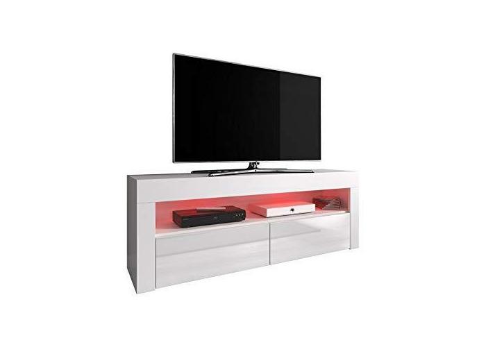 """e-Com - Mueble TV Salón Moderno Mesa Televisión""""LUNA"""" - 140 cm - Nuez/Negro + LED - 1"""
