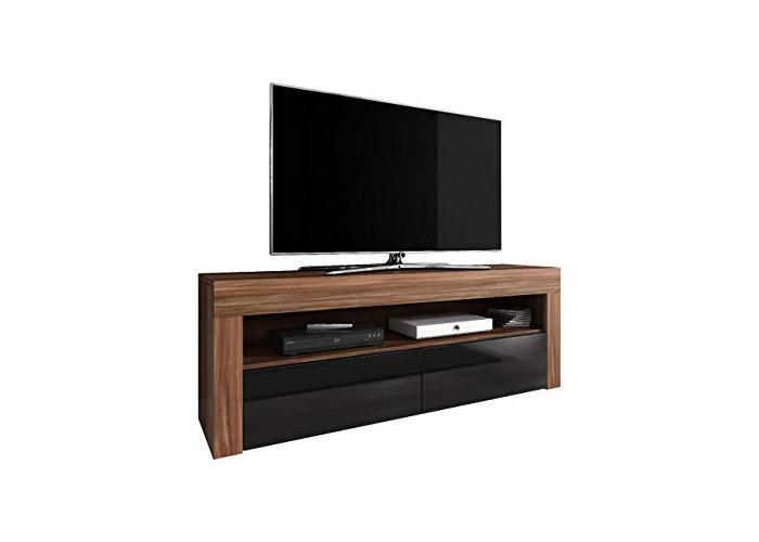 E-com - TV Unit Cabinet Stand Sideboard LUNA - 140 cm - Walnut/Black - 1
