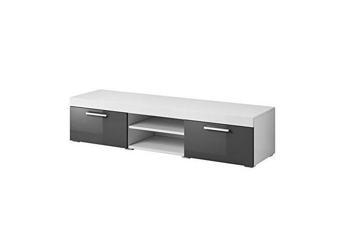 "e-Com - TV Unit Cabinet Stand Sideboard""PARIS"" - 140 cm - White/Grey - 1"
