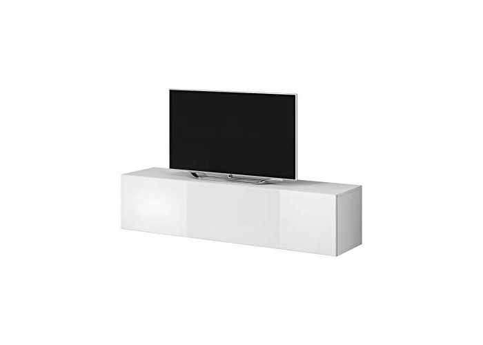 "e-Com - TV Unit Cabinet Stand Sideboard""ROCCO"" - 100 cm - White/Grey - 1"