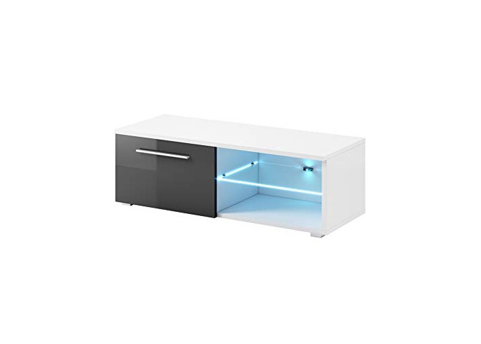 """e-Com - TV Unit Cabinet Stand Sideboard""""SAMUEL"""" With blue LED - 120 cm - White/Grey - 1"""