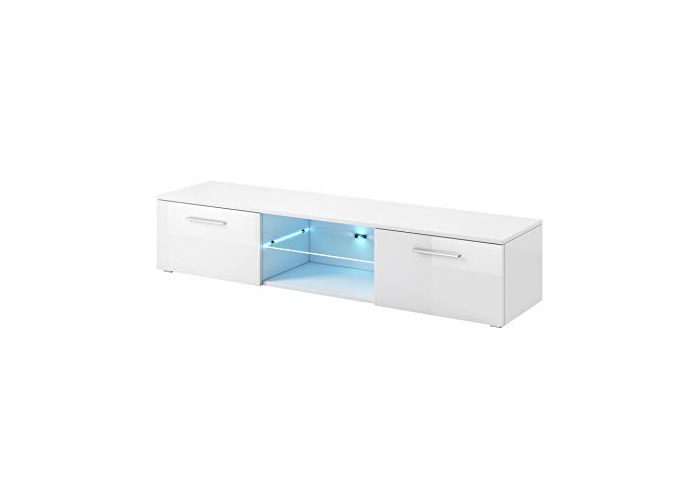 """e-Com - TV Unit Cabinet Stand Sideboard""""SAMUEL"""" With blue LED- 150 cm - White - 1"""