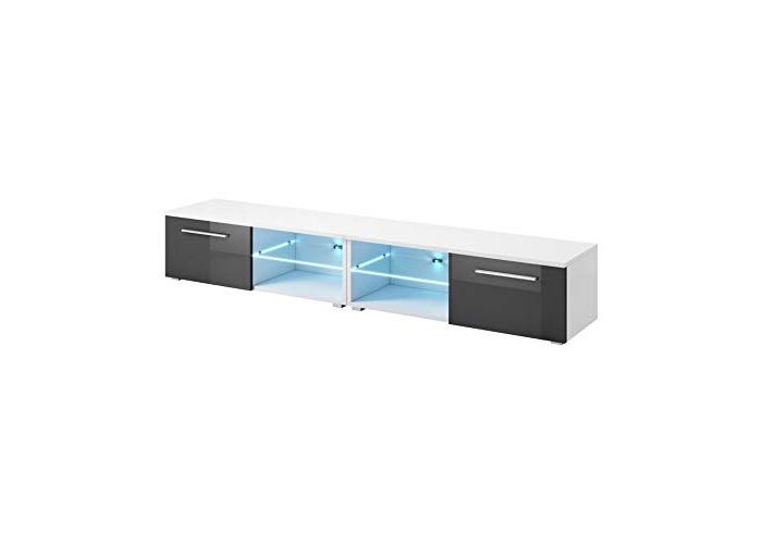 "e-Com - TV Unit Cabinet Stand Sideboard""SAMUEL"" With blue LED- 240 cm (2x 120 cm) - Black - 1"