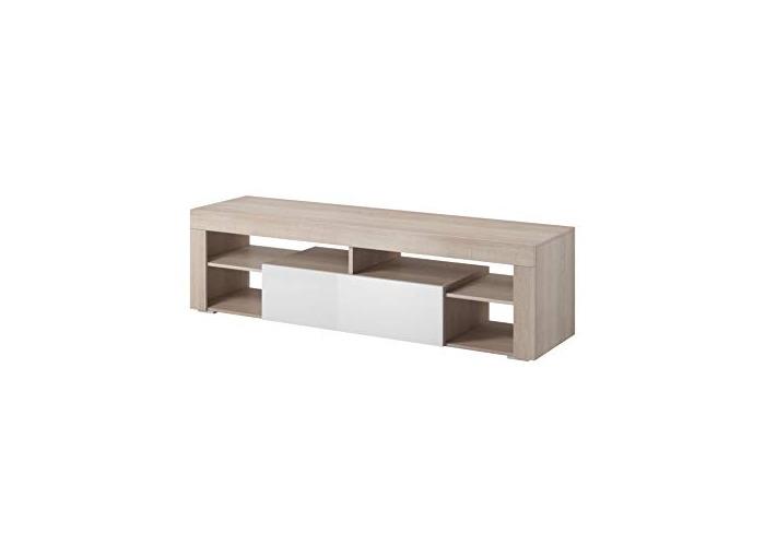 """e-Com - TV Unit Cabinet Stand Sideboard""""TITAN"""" - 140 cm - Sonoma Light Oak/White - 1"""