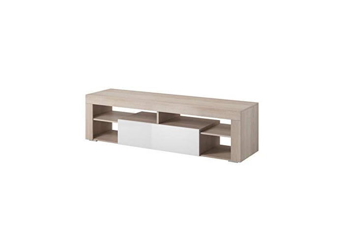 "e-Com - TV Unit Cabinet Stand Sideboard""TITAN"" - 140 cm - Sonoma Light Oak/White +LED - 1"