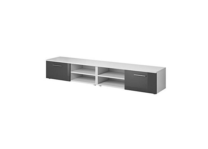 "e-Com - TV Unit Cabinet Stand Sideboard""VEGAS"" - 240 cm (2x 120 cm) - White/Grey - 1"