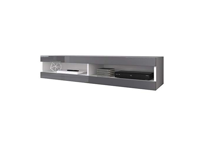 "e-Com - TV Unit Cabinet Stand Sideboard""VOLANT"" - 150 cm - White/Grey + LED - 1"