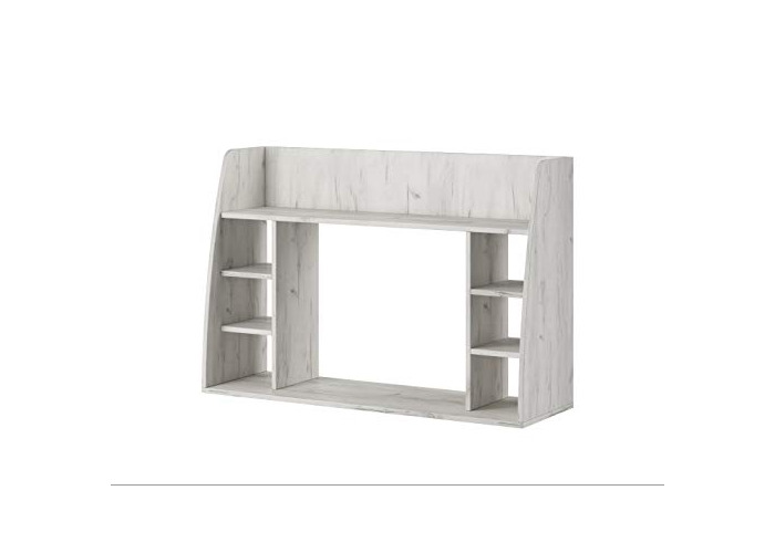 E-com - Wall-mounted Table Desk with Storage Shelves MAYA - 110 cm - Oak White - 1