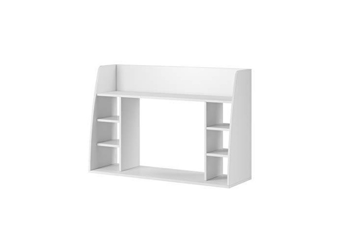 E-com - Wall-mounted Table Desk with Storage Shelves MAYA - 110 cm - White - 1