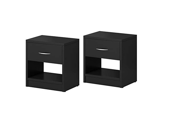 E-com Set of Two Bedside table Nightstand Alfa 1 Drawer Matte Black 41,4 H x 39,1 W x 28,1 D - 1