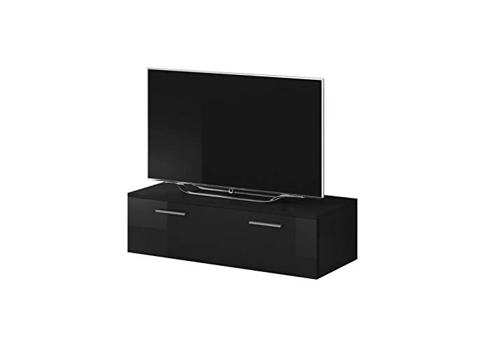 E-com TV Unit Cabinet Stand Boston Body Matte Black/Front Black High gloss (100 cm) - 1