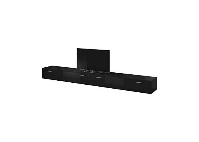 E-com TV Unit Cabinet Stand Boston Body Matte Black/Front Black High gloss (300 cm (2x150 cm)) - 1