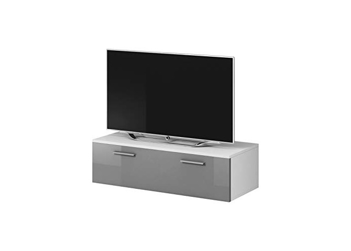 E-com TV Unit Cabinet Stand Boston Body Matte White/Front Grey High gloss (100 cm) - 1