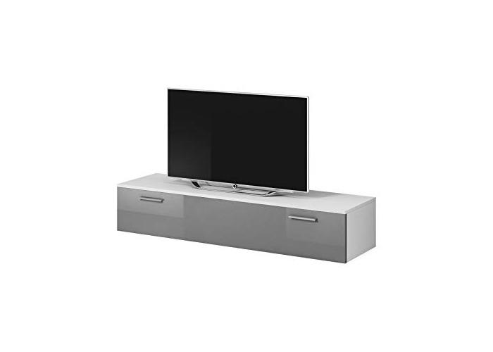 E-com TV Unit Cabinet Stand Boston Body Matte White/Front Grey High gloss (150 cm) - 1